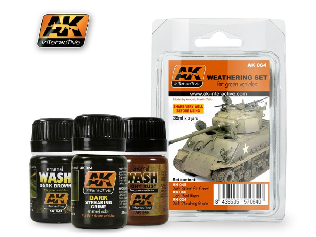AK Interactive - Green Vehicles Weathering Set
