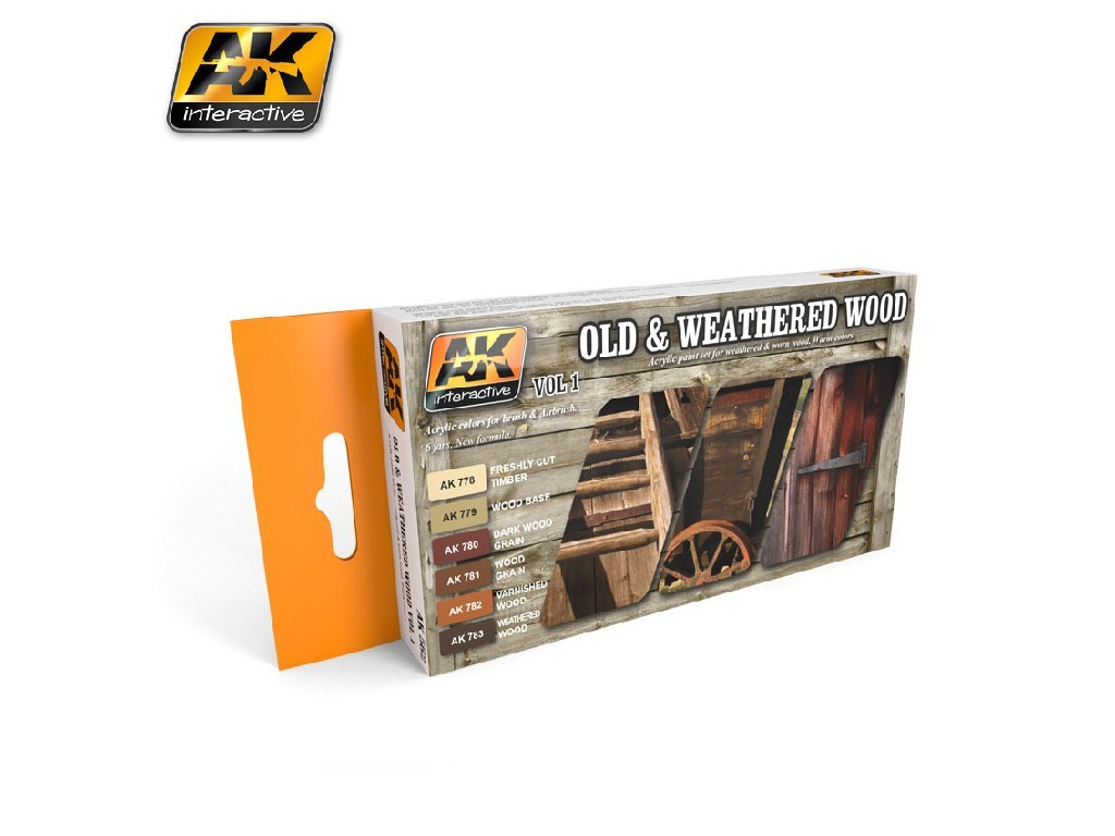 AK Interactive - Old And Weathered Wood Vol.1 Colors Set