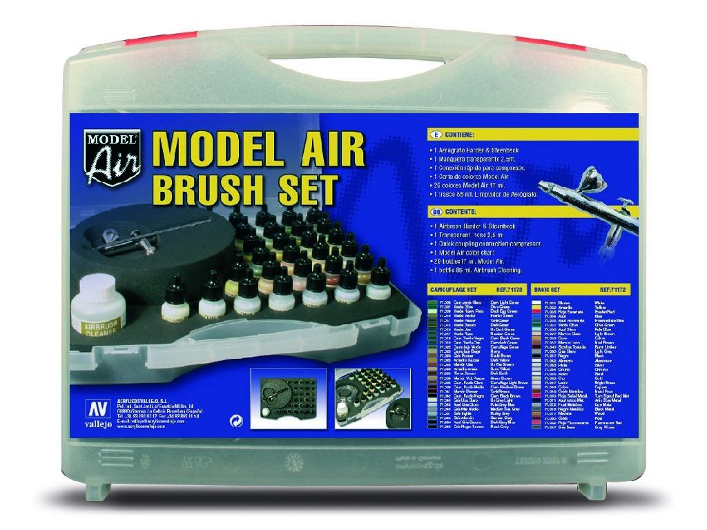 Vallejo - Model Air Set 71173 Kamuflážní barvy + airbrush 29x17 ml.