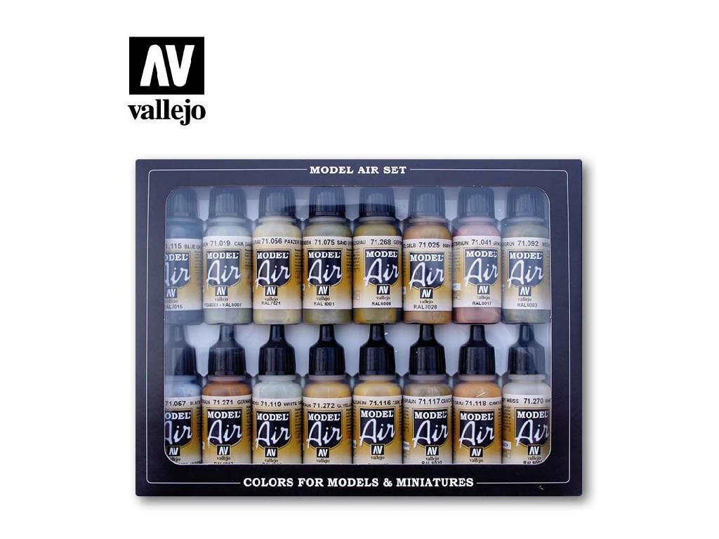 Vallejo - Model Air Set (AF) 71208 Set (AF) German WWII Europe and Africa 16x17 ml.