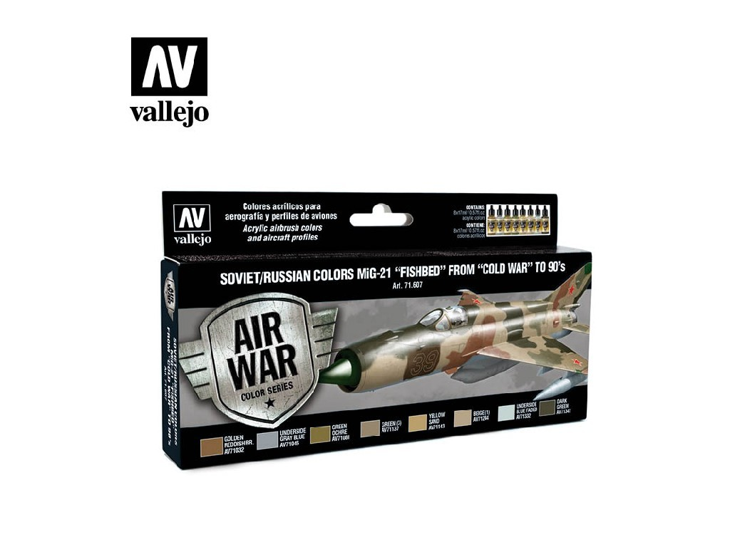 Vallejo Model Air Set - Soviet / Russian colors MiG-21 Fishbed from 50s to 90s 8x17 ml. 71607