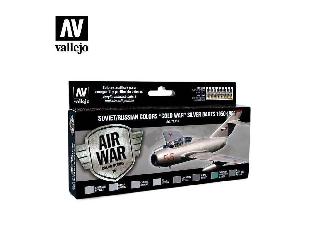 Vallejo Model Air Set - Soviet / Russian colors Cold War Silver Darts 1950-1980 8x17 ml. 71610