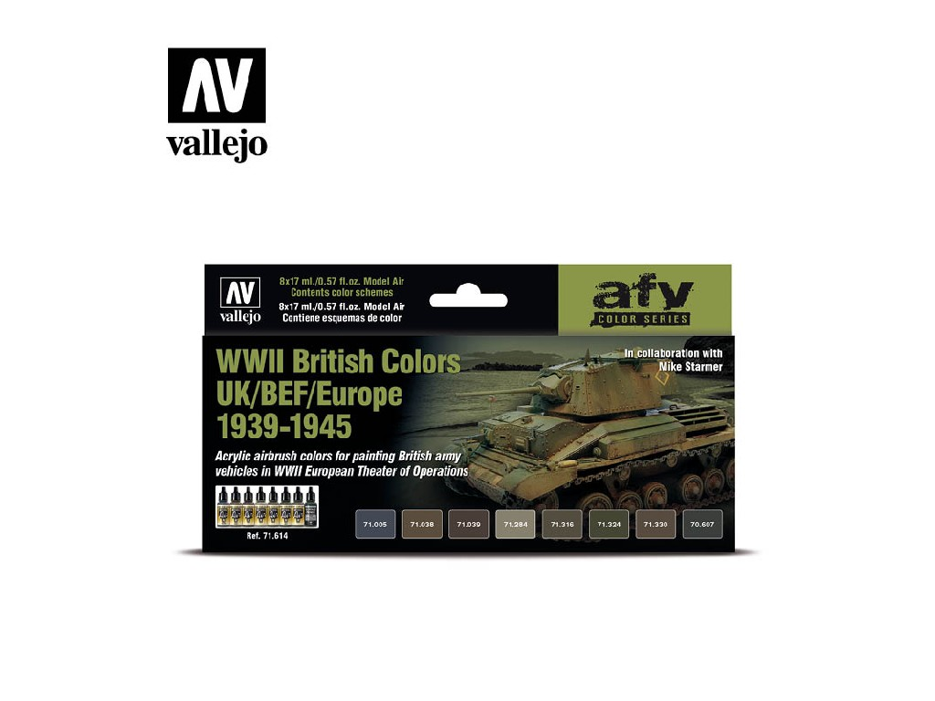 Vallejo - Model Air Set (AF) 71614 WWII British Colors UK/BEF/Europe 1939-1945 8x17 ml.