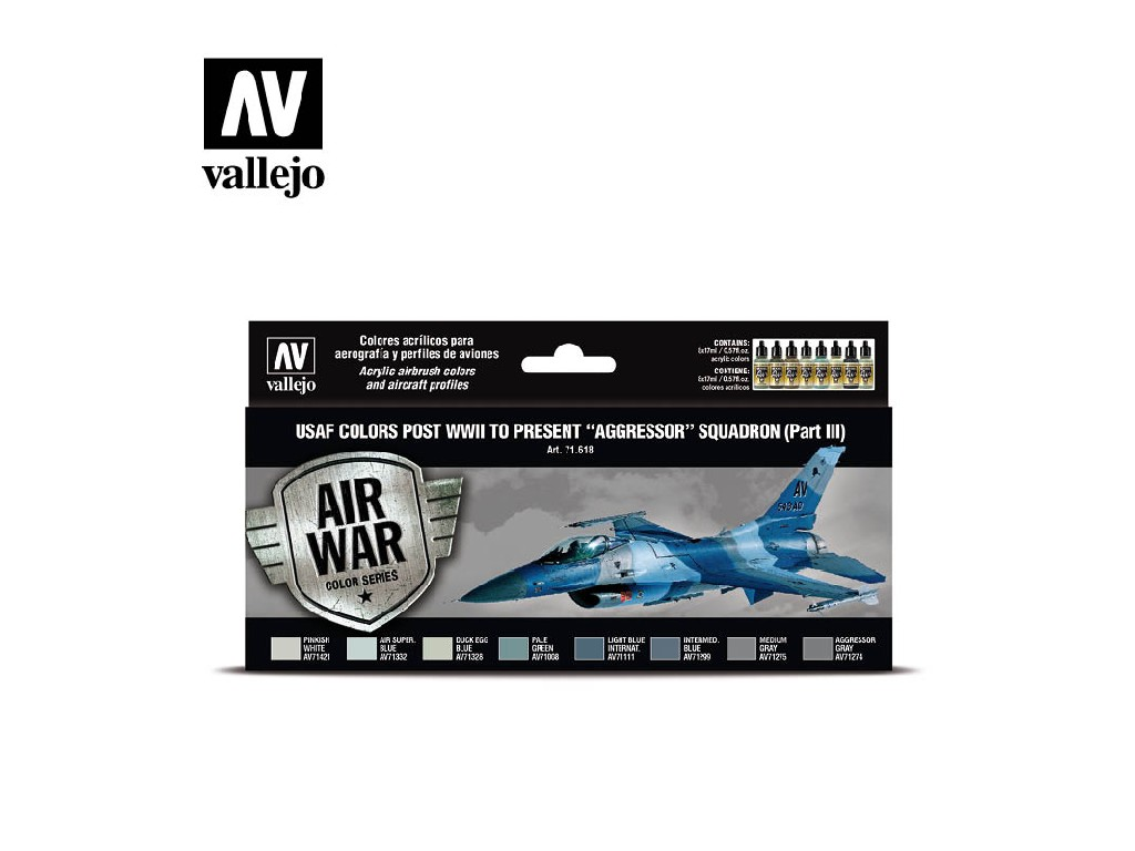 Vallejo Model Air Set - USAF colors post WWII to present Aggressor III. 8x17 ml. 71618