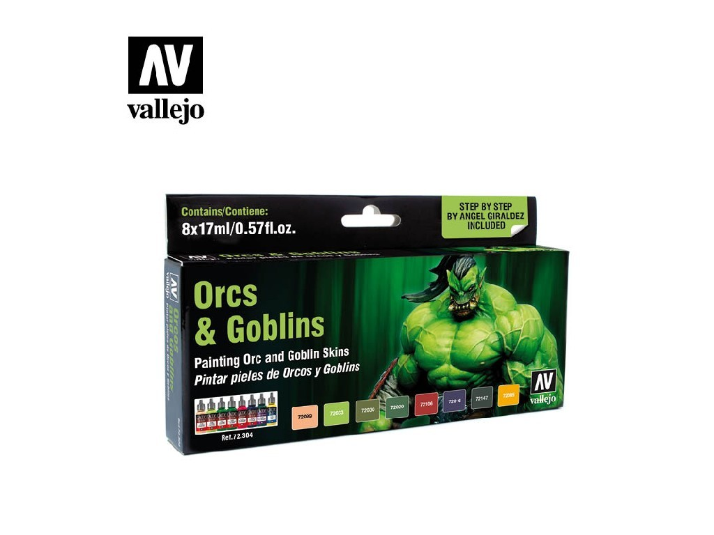 Vallejo Game Color Set - Orcs and Goblins by Angel Giraldez 8 x 17 ml. 72304