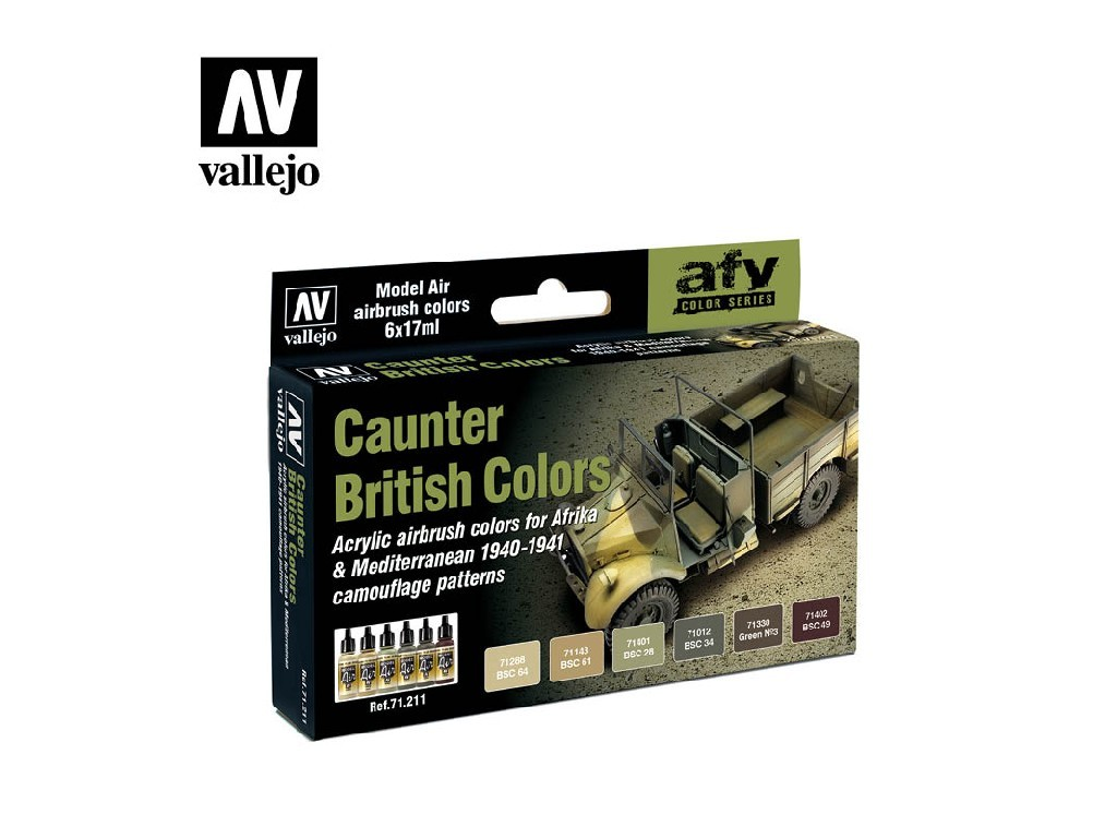 Vallejo Model Air Set - British Caunter Colors 6x17 ml. 71211