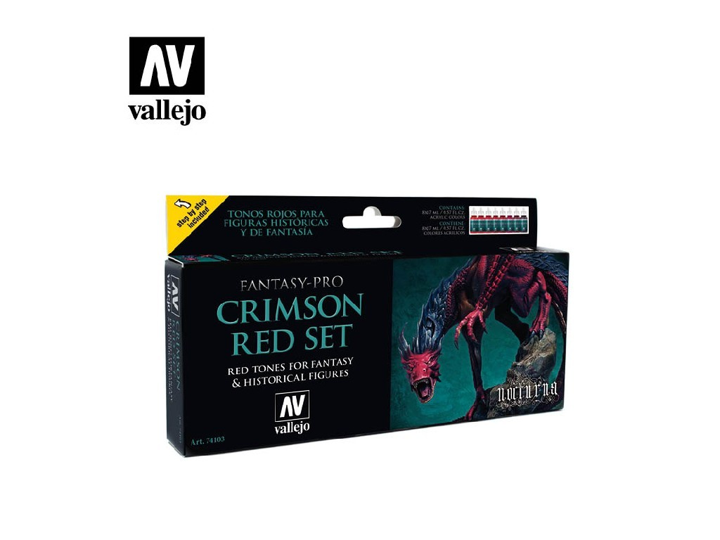 Vallejo Pro Nocturna Set - Crimson Red Set 8 x 17 ml.74103