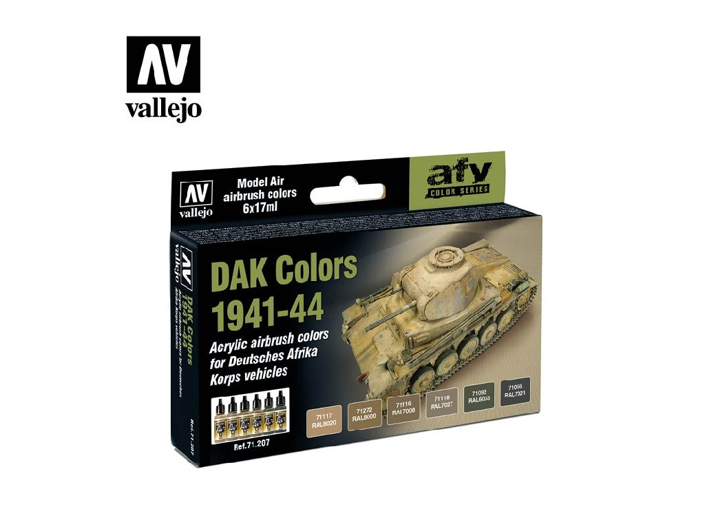 Vallejo - Model Air Set (AF) 71207 DAK Colors 1941-44 6x17 ml.