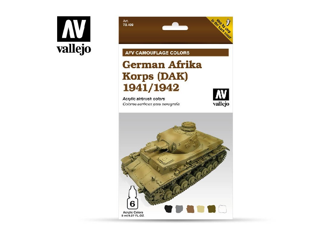 Vallejo Model Air Set - AFV German Afrika Korps 1942/44 (DAK) 6x8 ml. 78410