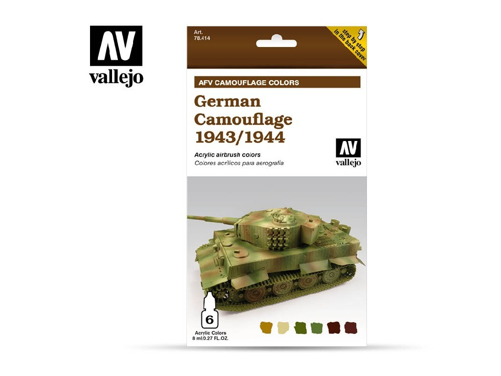 Vallejo Model Air Set - AFV German Camouflage 1943/1944 6x8 ml. 78414