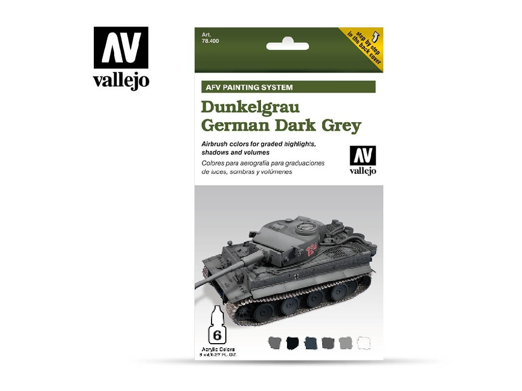 Vallejo Model Air Set - AFV German Dark Grey Armour Painting System 6x8 ml. 78400