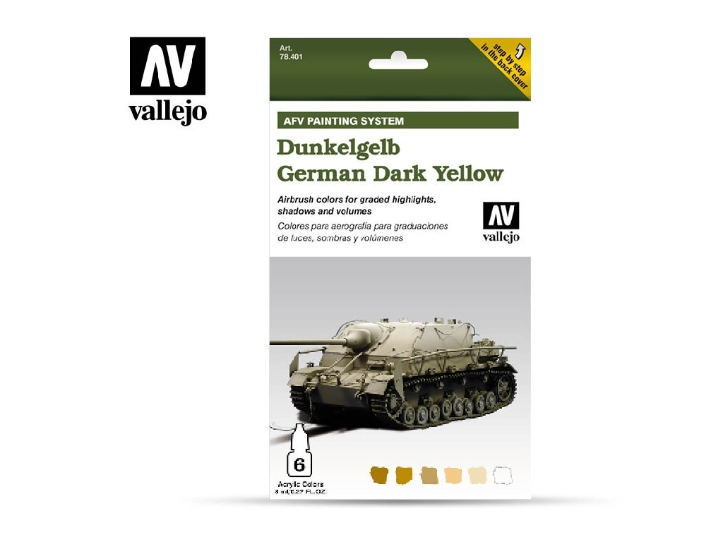 Vallejo Model Air Set - AFV German Yellow Armour Painting System 6x8 ml. 78401