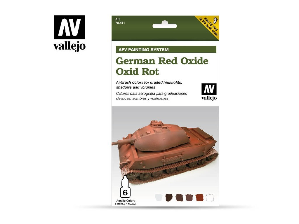 Vallejo Model Air Set - AFV German Red Oxide Armour Painting System 6x8 ml. 78411