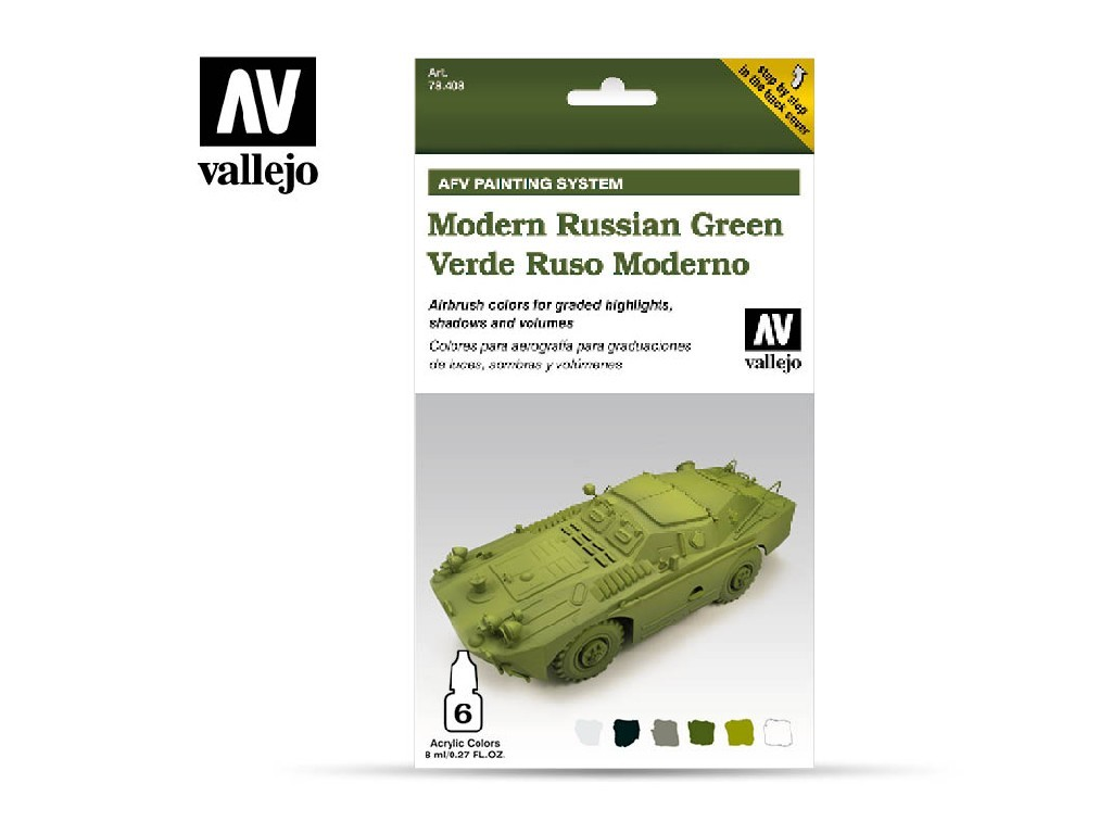 Vallejo Model Air Set - AFV Modern Russian Green Armour Painting System 6x8 ml. 78408
