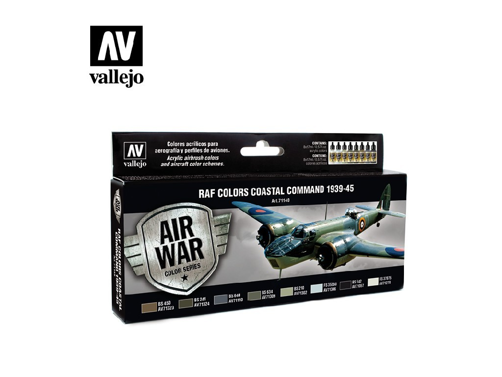 Vallejo - Model Air Set (AW) 71148 Coastal Command 1939-45 8x17 ml.