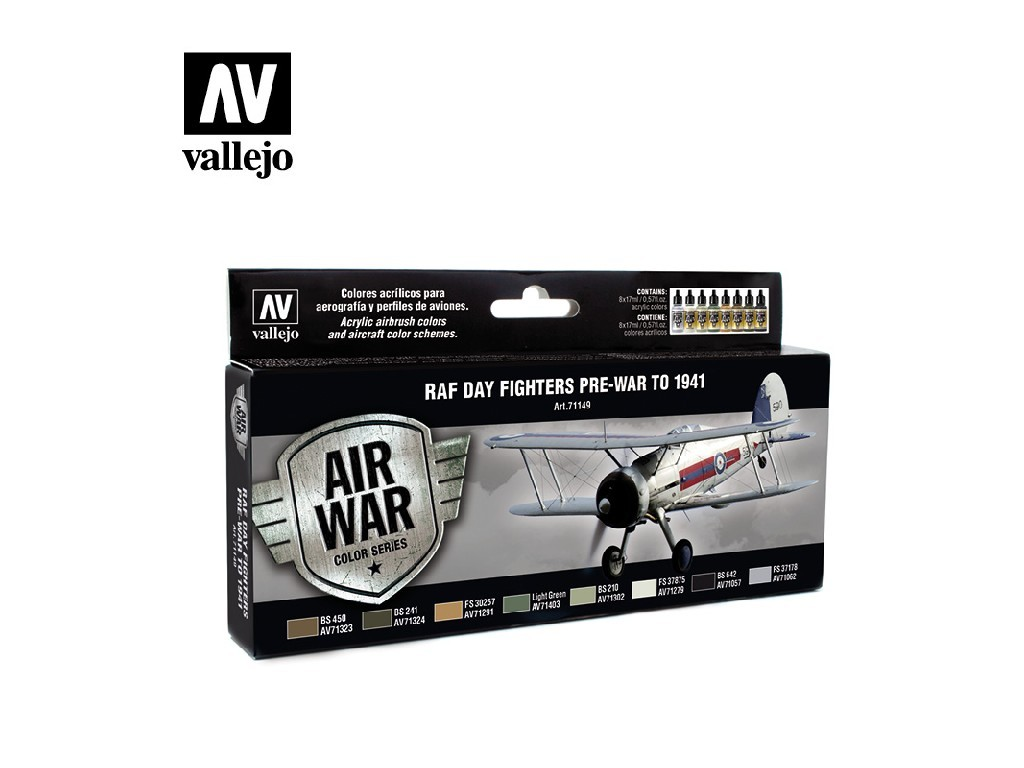 Vallejo - Model Air Set (AW) 71149 Day Fighters Pre-War To 1941 8x17 ml.