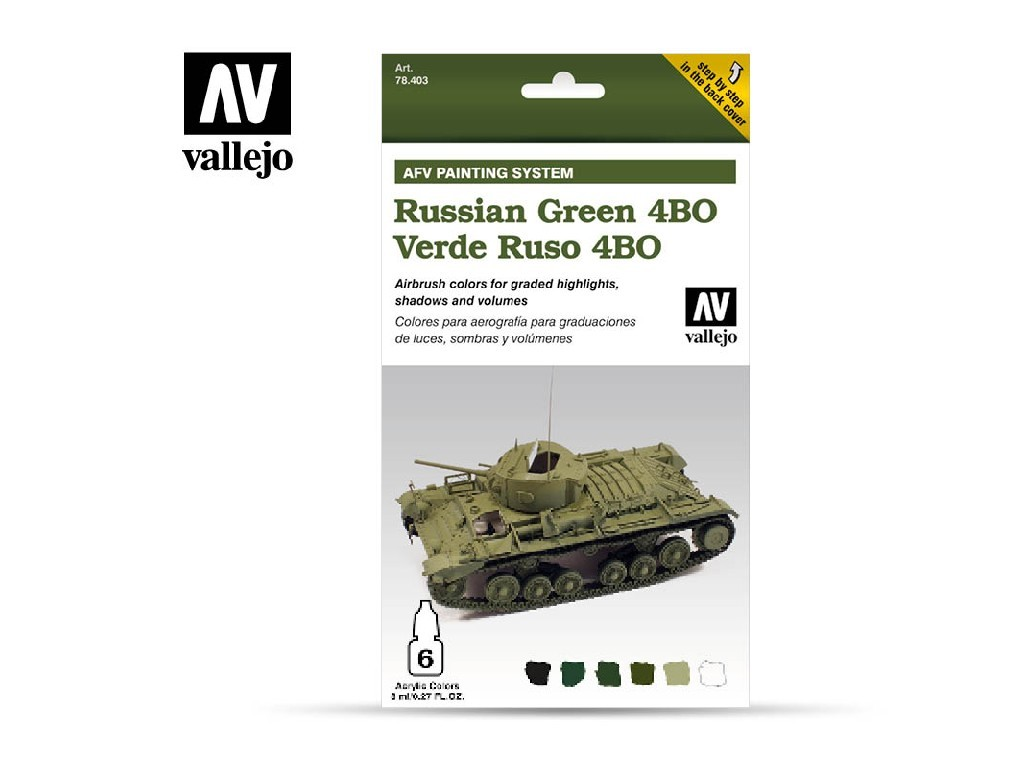 Vallejo - Model Air Set (AF) 78403 AFV Russian Green 4BO Armour Painting System 6x8 ml.