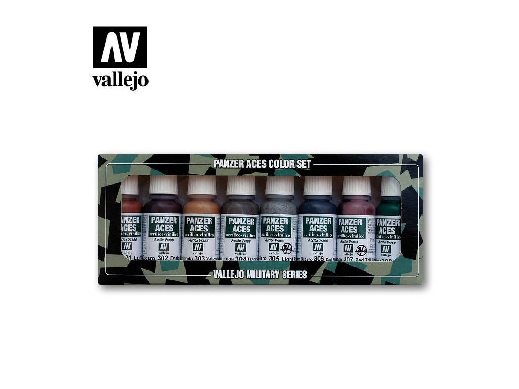 Vallejo Panzer Aces Set - Rust, Tracks, Rubber 8x17ml. 70122