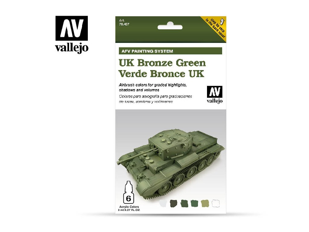 Vallejo Model Air Set - AFV UK Bronze Green Armour Painting System 6x8 ml. 78407