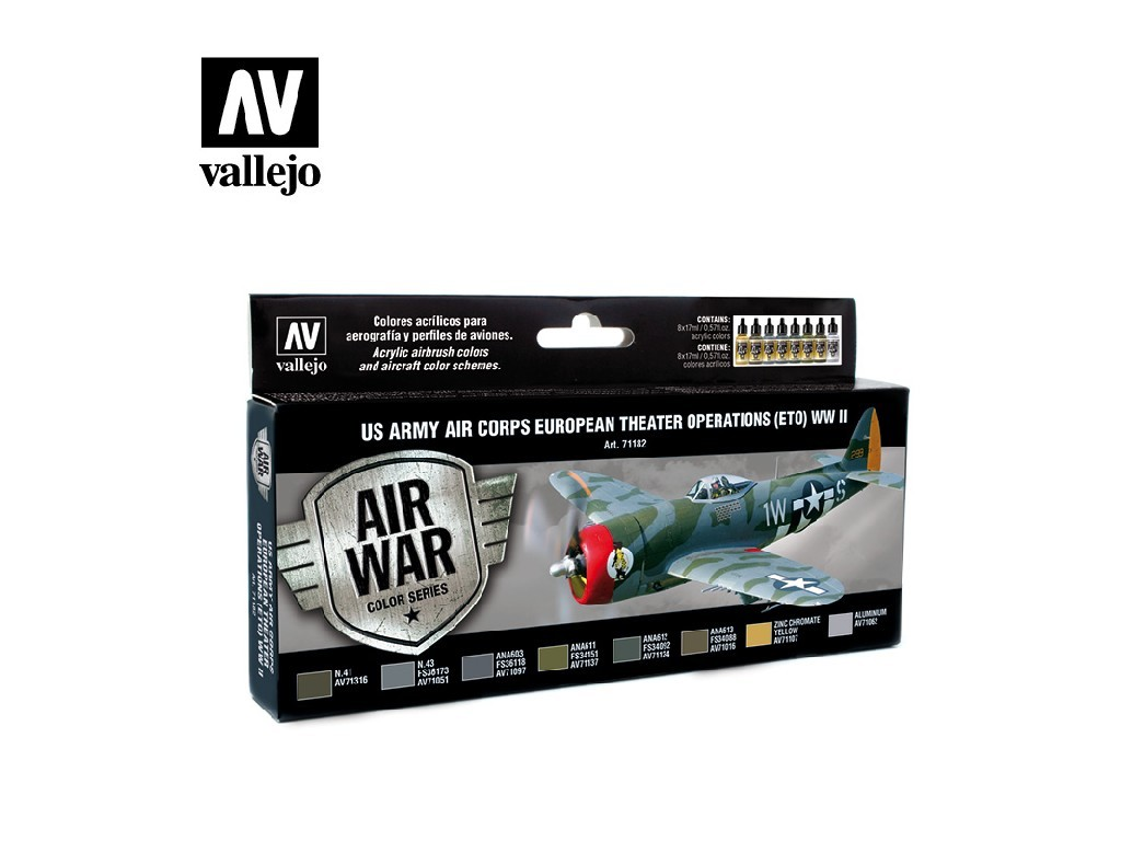 Vallejo Model Air Set - US Army Air Corps European Theater Op. (ETO) WWII 8x17 ml. 71182