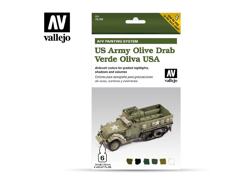 Vallejo Model Air Set - AFV US Army Olive Drab Armour Painting System 6x8 ml. 78402