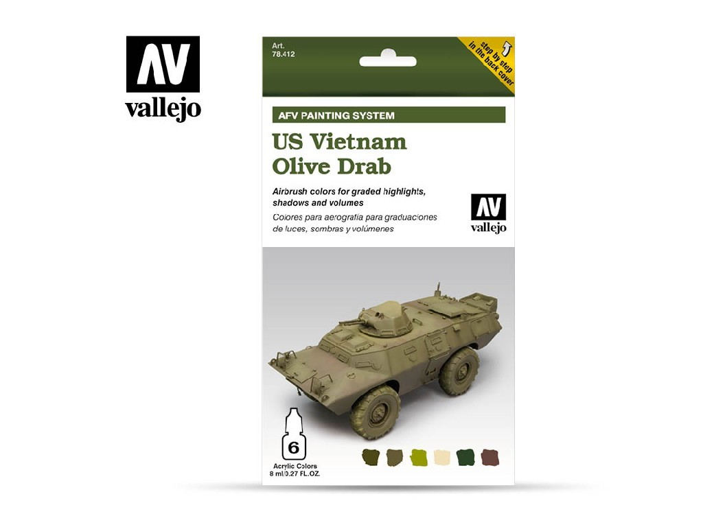 Vallejo Model Air Set - AFV US Vietnam Olive Drab Set 6x8 ml. 78412