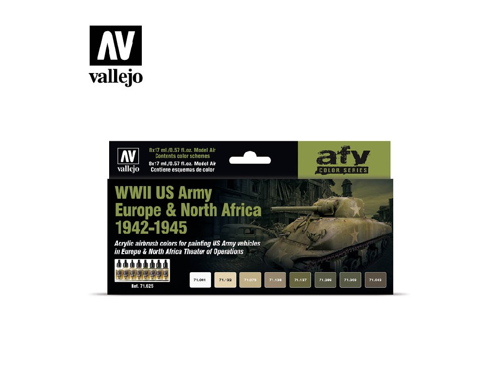 Vallejo - Model Air Set (AF) WWII US Army Europe and North Africa 1942-1945 8x17 ml.