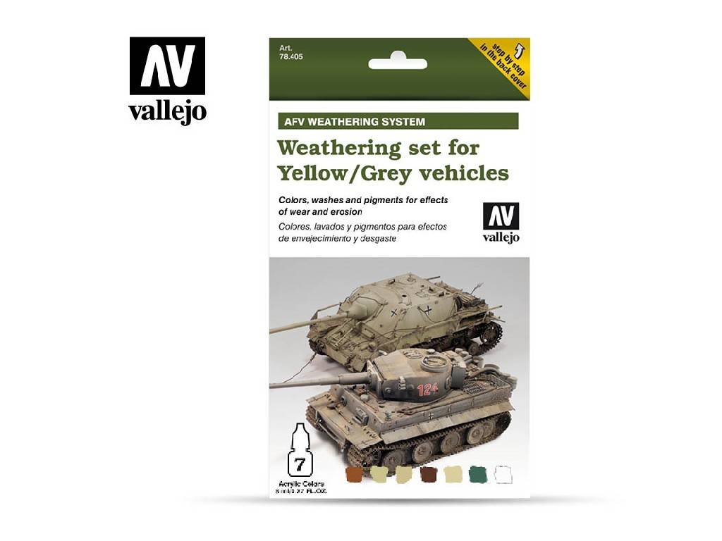 Vallejo Model Air Set - Weathering Yellow and Grey Vehicles 6x8 ml. 78405