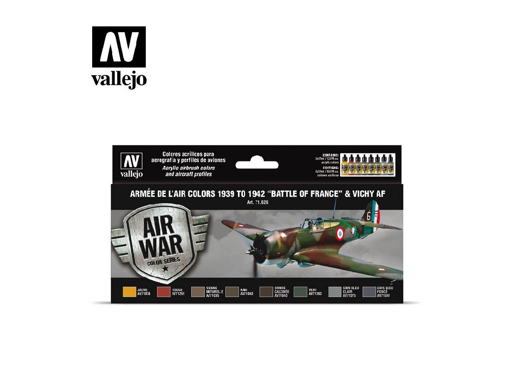 Vallejo - Model Air Set (AW) Armée de l'Air colors 1939 to 1942 Battle of France and Vichy AF 8x17 ml.