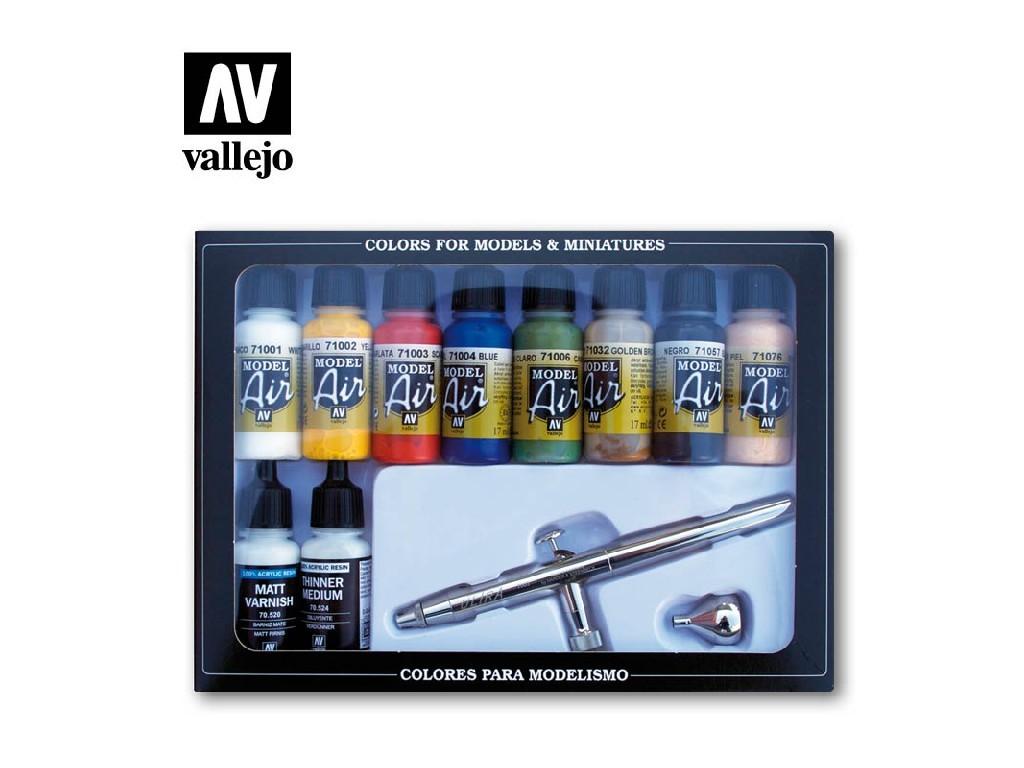 Vallejo - Model Air Set (BA) 71167 Základní barvy + Airbrush 10x17 ml.