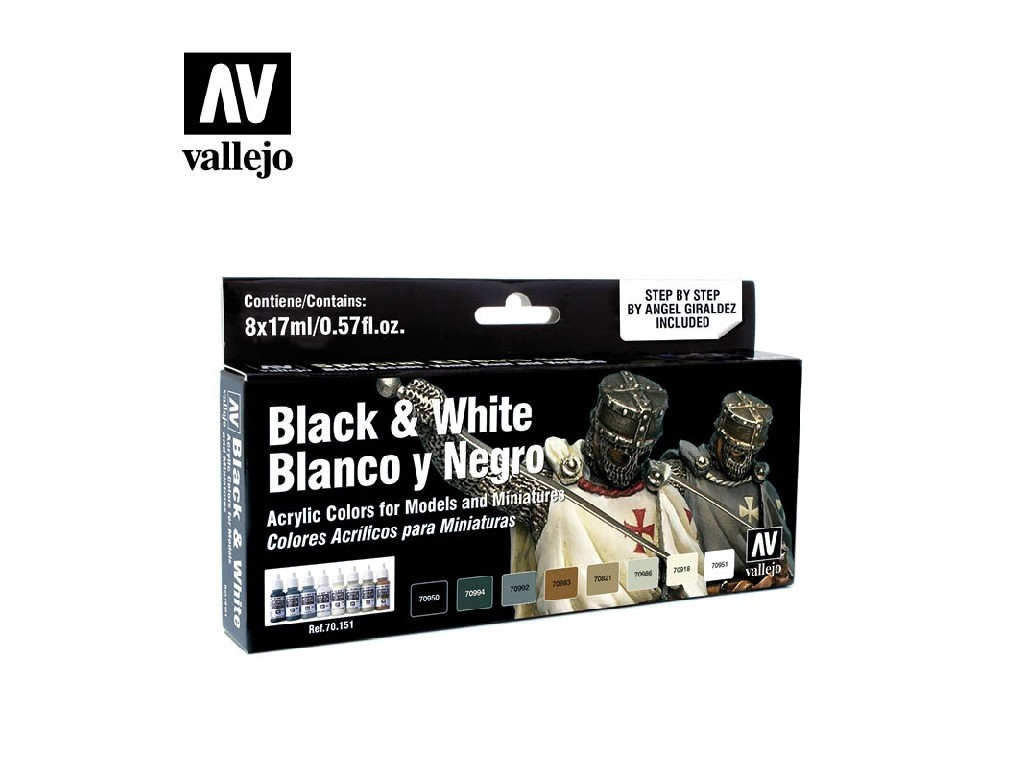 Vallejo Model Color Set - Black and White by Angel Giraldez 8x17 ml. 70151