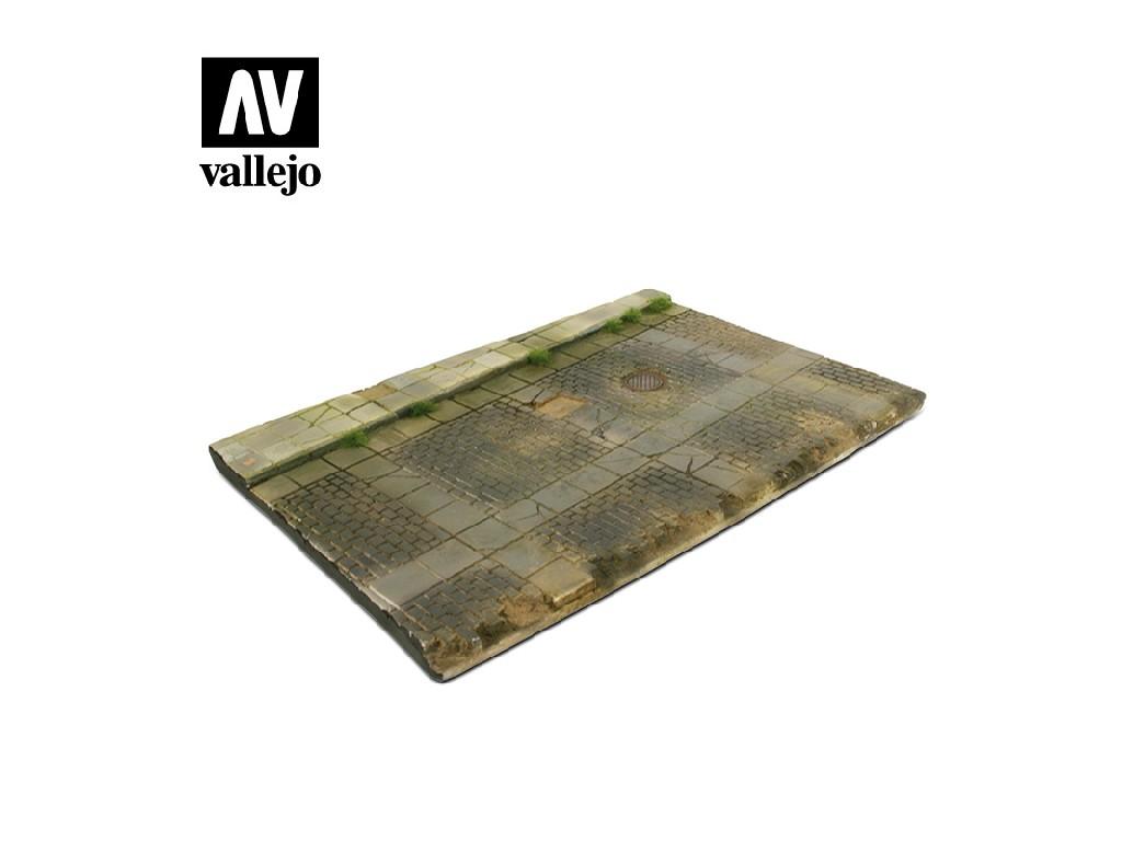 Vallejo - Scenics SC103 Dlážděná ulice s odtokem 31x21cm 1/35