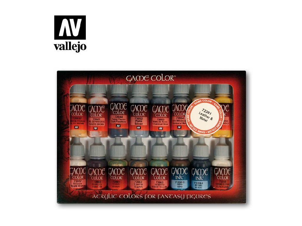 Vallejo Game Color Set - Leather and Metal 16 x 17 ml. 72291