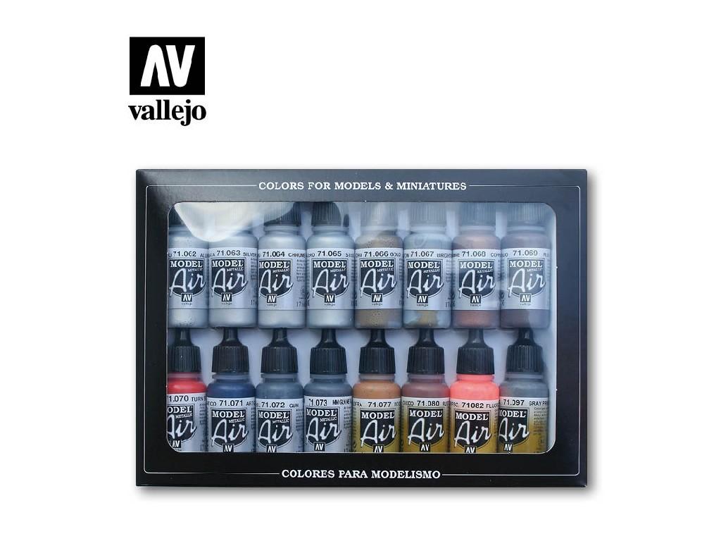 Vallejo - Model Air Set (EF) 71181 Metallic Effects 16x17 ml.