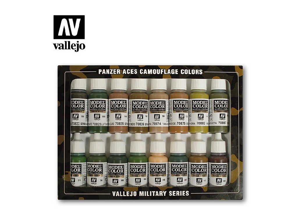 Vallejo Panzer Aces Set - Panzer Aces Camouflage 16x17ml. 70179