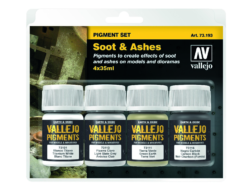 Vallejo Pigmenty - Soot and Ashes 4 x 35 ml. 73193
