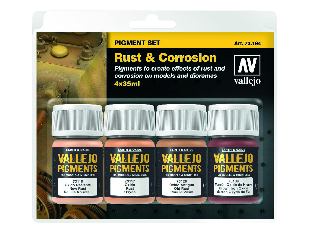 Vallejo Pigmenty - Rust and Corrosion 4 x 35 ml. 73194