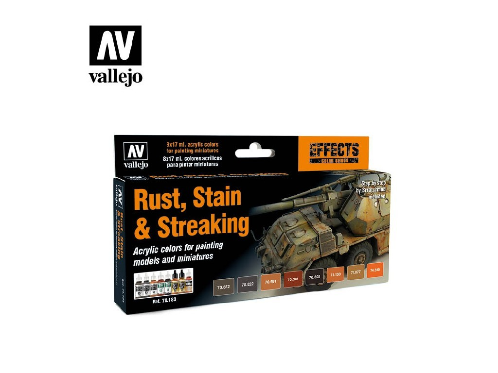 Vallejo Model Color Set - Rust, Stain and Streaking by Scratchmod 8x17 ml. 70183
