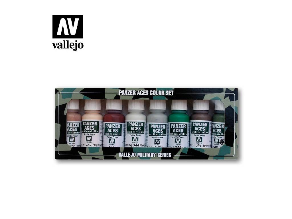 Vallejo Panzer Aces Set - Skin Tone and Splinter Camouflage 8x17ml. 70129