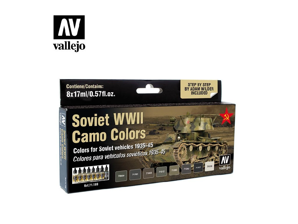 Vallejo Model Air Set - Soviet WWII Camo Colors by Adam Wilder 8x17 ml. 71188