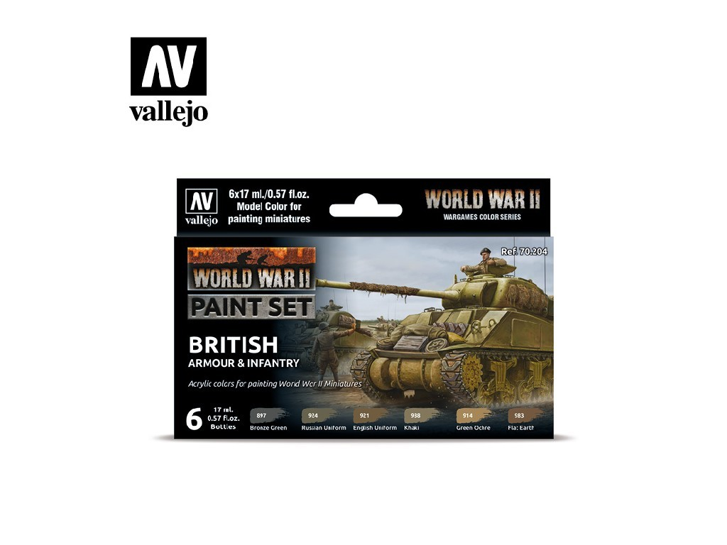 Vallejo Model Color Set - 70204 WWII British Armour and Infantry 6x17 ml.