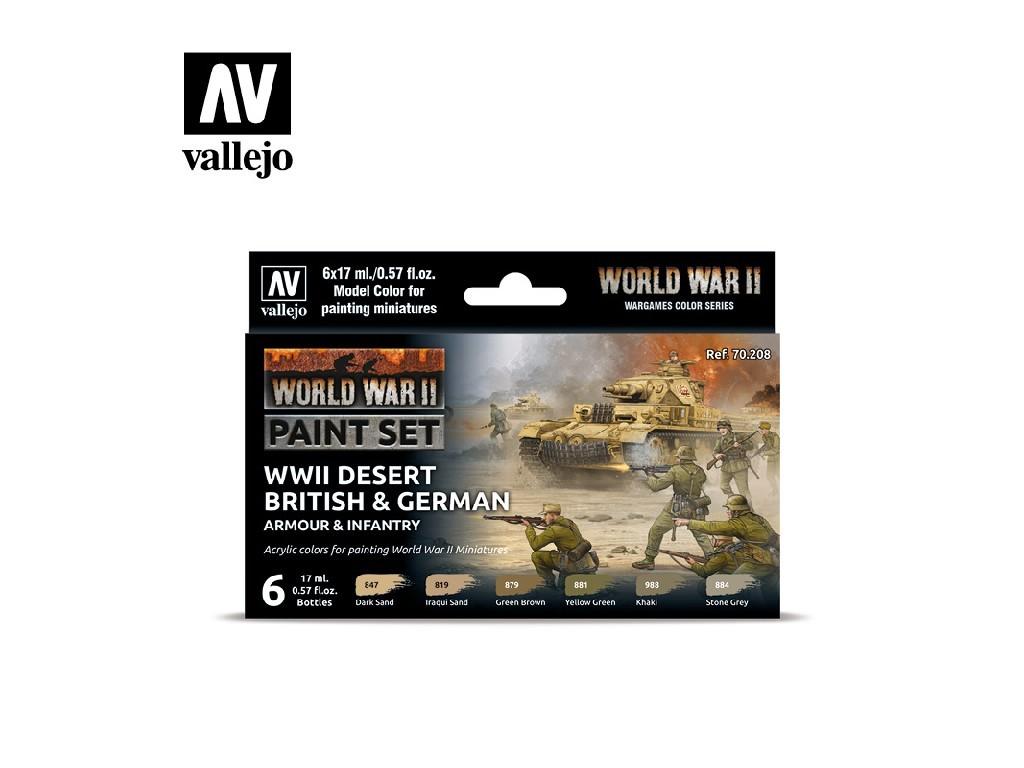 Vallejo Model Color Set - 70208 WWII Desert British, German Armour, Infantry 6x17 ml.