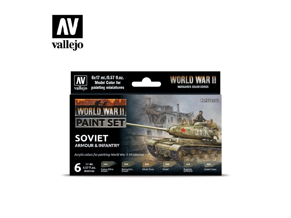 Vallejo Model Color Set - 70202 WWII Soviet Armour and Infantry 6x17 ml.