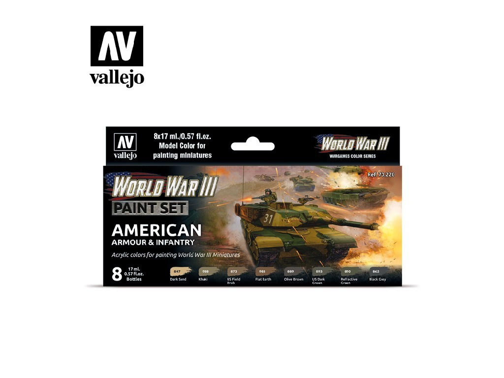 Vallejo Model Color Set - 70220 WWIII American Armour and Infantry 8x17 ml.