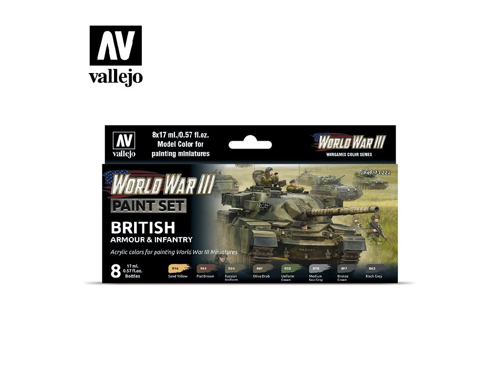 Vallejo Model Color Set - 70222 WWIII British Armour and Infantry 8x17 ml.