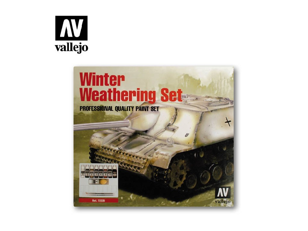 Vallejo Model Color Set - Winter Weathering + 2 Brushes 9 x 17 ml. 72220