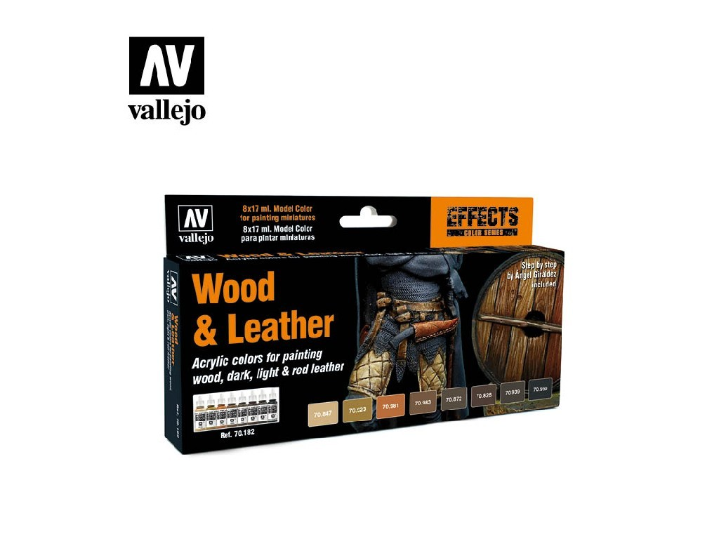 Vallejo Model Color Set - Wood and Leather By Angel Giraldez 8x17 ml. 70182