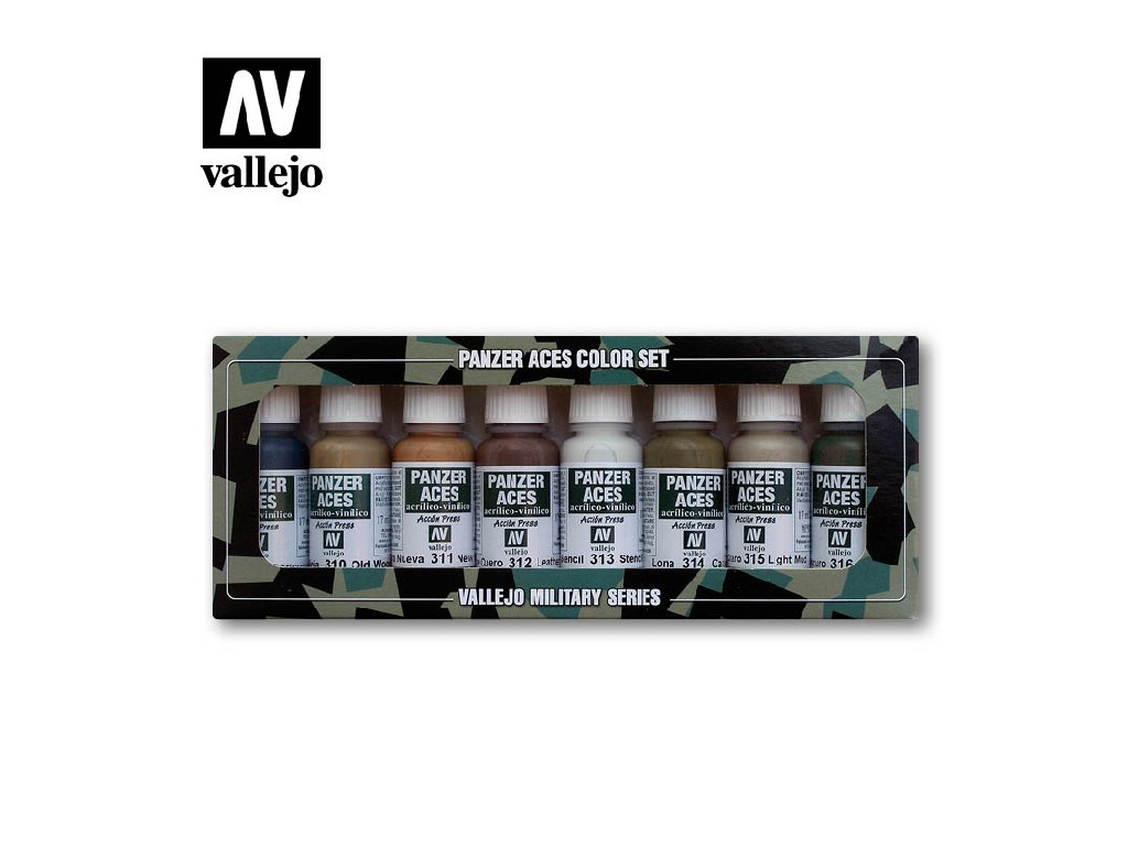 Vallejo Panzer Aces Set - Wood, Leather, Stencil 8x17ml. 70123