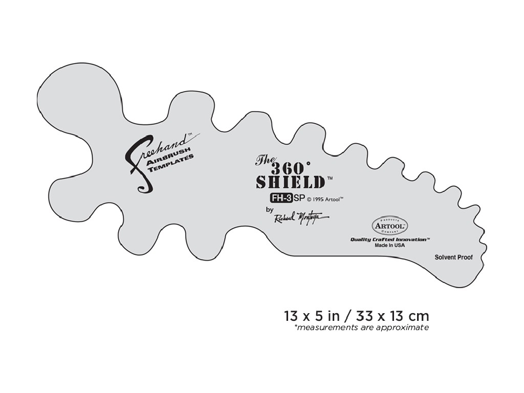 Artool FH 3 SP ­ Freehand Airbrush Template - 360 Degree Shield