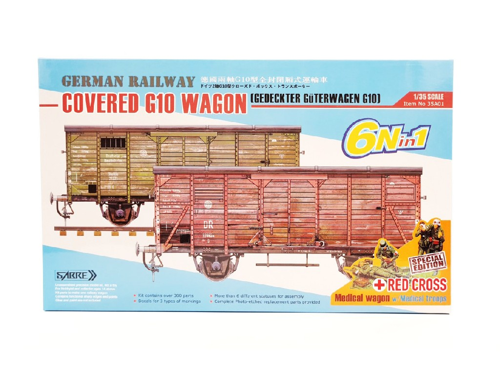1/35 German Railway Covered G10 Wagon - Red Cross  Special Edition